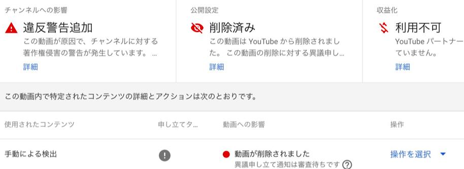 YouTubeの著作権侵害の申し立て「違反警告追加」