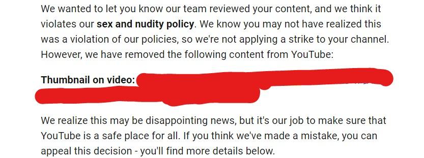 YouTubeサムネが削除された時