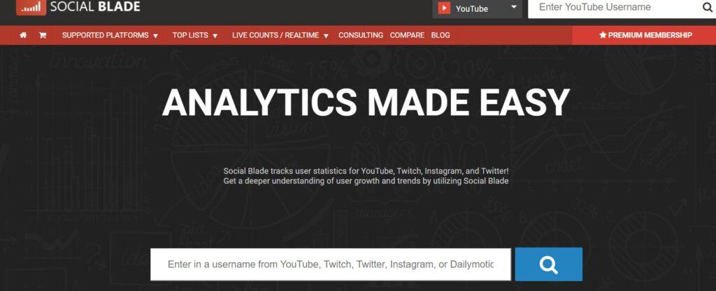YouTube Statistics - SocialBlade.comのサイト